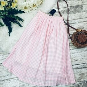 NEW J.O.A Gingham Pink Midi Skirt